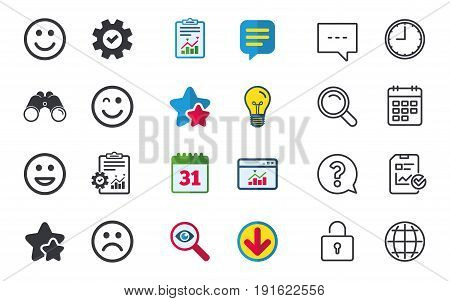 Smile icons. Happy, sad and wink faces symbol. Laughing lol smiley signs. Chat, Report and Calendar signs. Stars, Statistics and Download icons. Question, Clock and Globe. Vector