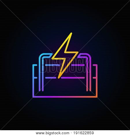 Geothermal energy colorful icon. Vector renewable energy outline concept sign on dark background