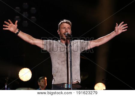 NASHVILLE, TN - JUNE 08: Dierks Bentley performs at Nissan Stadium during the 2017 CMA Festival on June 8, 2017 in Nashville, Tennessee.