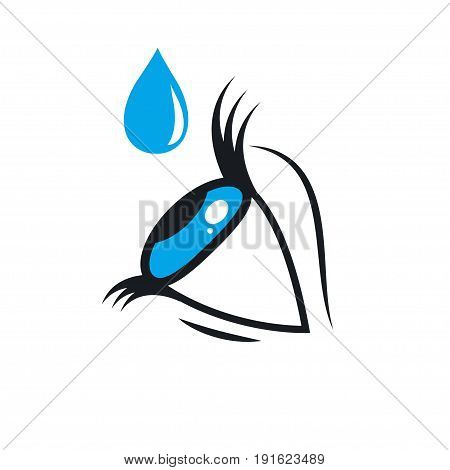 Icon eye drops isolated. Stock vector illustration