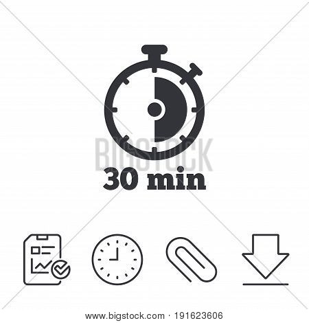 Timer sign icon. 30 minutes stopwatch symbol. Report, Time and Download line signs. Paper Clip linear icon. Vector