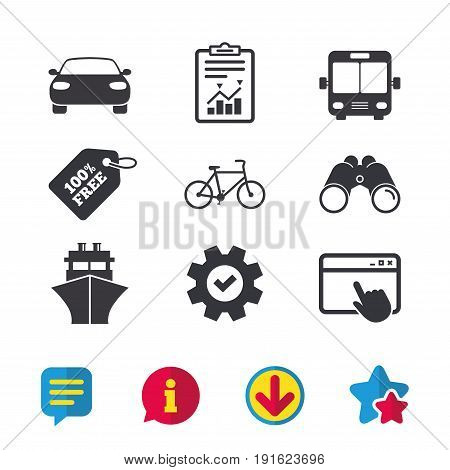 Transport icons. Car, Bicycle, Public bus and Ship signs. Shipping delivery symbol. Family vehicle sign. Browser window, Report and Service signs. Binoculars, Information and Download icons. Vector
