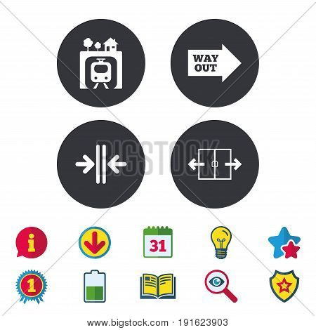 Underground metro train icon. Automatic door symbol. Way out arrow sign. Calendar, Information and Download signs. Stars, Award and Book icons. Light bulb, Shield and Search. Vector