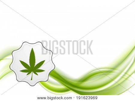 Green waves and cannabis leaf abstract background