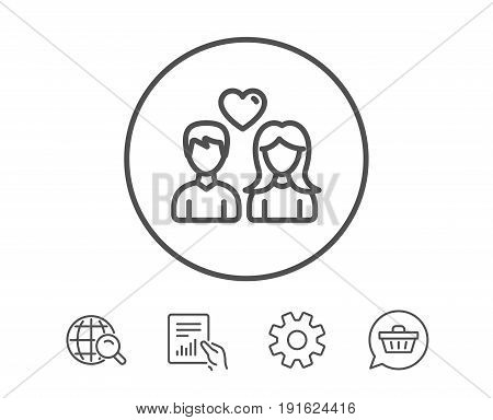 Couple with Heart line icon. Users Group sign. Male and Female Person silhouette symbol. Hold Report, Service and Global search line signs. Shopping cart icon. Editable stroke. Vector