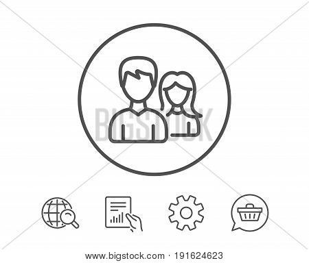 Couple line icon. Users Group or Teamwork sign. Male and Female Person silhouette symbol. Hold Report, Service and Global search line signs. Shopping cart icon. Editable stroke. Vector