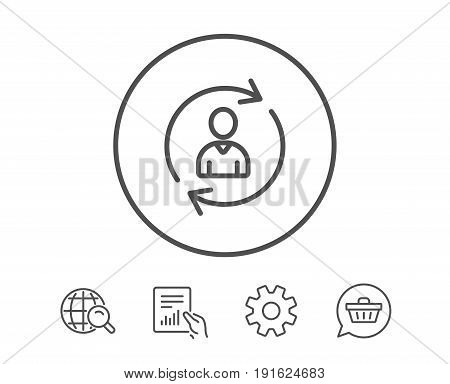 Human Resources line icon. User Profile sign. Person silhouette symbol. Refresh or Update sign. Hold Report, Service and Global search line signs. Shopping cart icon. Editable stroke. Vector