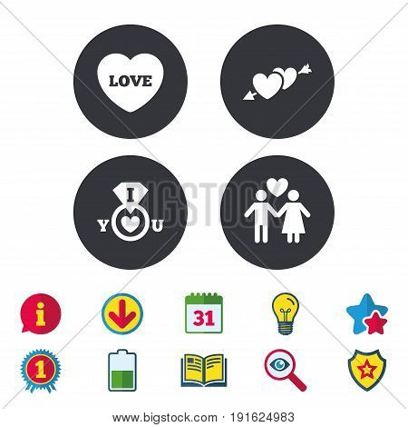Valentine day love icons. I love you ring symbol. Couple lovers sign. Calendar, Information and Download signs. Stars, Award and Book icons. Light bulb, Shield and Search. Vector