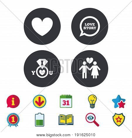Valentine day love icons. I love you ring symbol. Couple lovers sign. Love story speech bubble. Calendar, Information and Download signs. Stars, Award and Book icons. Light bulb, Shield and Search
