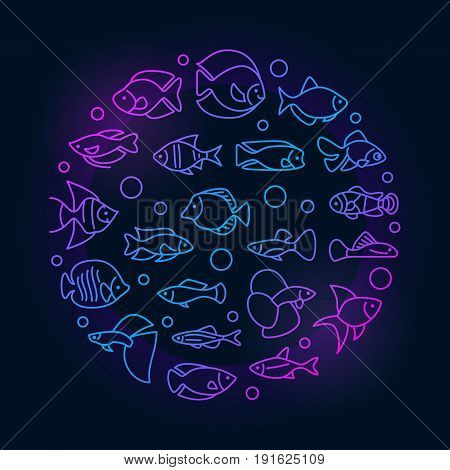 Aquarium fish colorful illustration - vector round symbol made with icons of thin line freshwater and saltwater fish on dark background