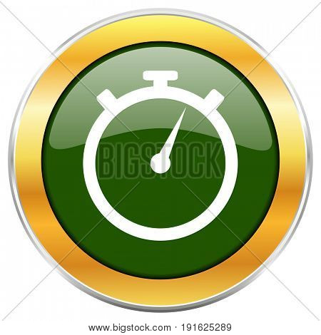 stopwatch green glossy round icon with golden chrome metallic border isolated on white background for web and mobile apps designers.