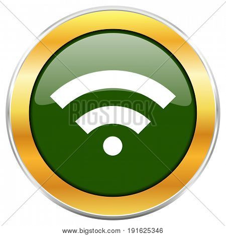 Wireless green glossy round icon with golden chrome metallic border isolated on white background for web and mobile apps designers.