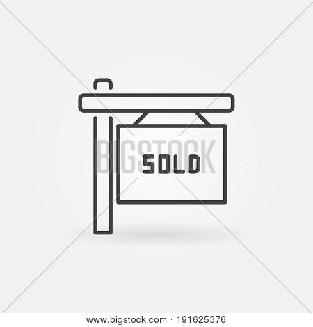 House sold line icon - vector minimal sign or design element