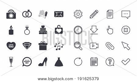 Set of Wedding and Engagement icons. Cake with heart, Gift box and Letter signs. Dress, Fireworks and Musical notes symbols. Calendar, Document and Download line signs. Vector