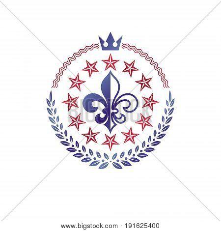 Retro vintage Insignia composed using lily flower imperial crown and pentagonal stars. Vector royal quality idea design element Fleur-De-Lis.