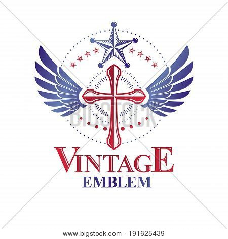Cross of Christianity graphic winged emblem the faith is free. Heraldic vector design element. Retro style label religious insignia decorated with bird wings and pentagonal star.
