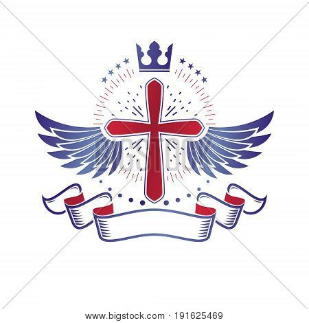 Winged Christian Cross emblem composed with royal crown and luxury ribbon. Heraldic Coat of Arms decorative logo isolated vector illustration. Religion and spirituality theme symbol.