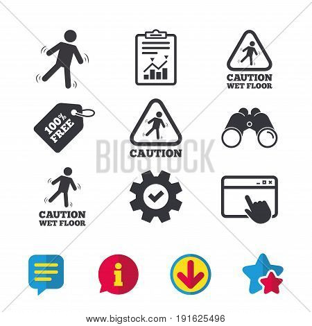 Caution wet floor icons. Human falling triangle symbol. Slippery surface sign. Browser window, Report and Service signs. Binoculars, Information and Download icons. Stars and Chat. Vector