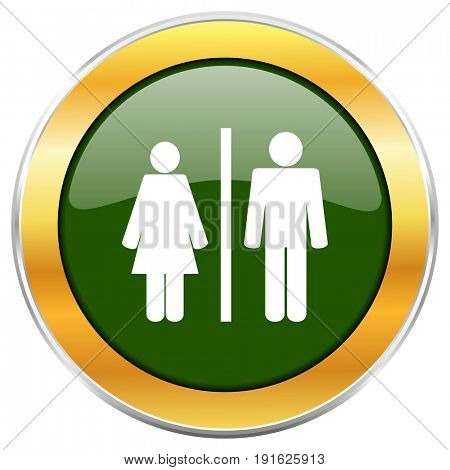 Man and Woman green glossy round icon with golden chrome metallic border isolated on white background for web and mobile apps designers.