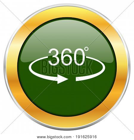 Panorama 360 green glossy round icon with golden chrome metallic border isolated on white background for web and mobile apps designers.
