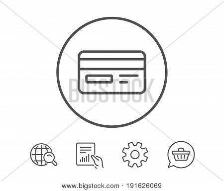 Credit card line icon. Bank payment method sign. Online Shopping symbol. Hold Report, Service and Global search line signs. Shopping cart icon. Editable stroke. Vector