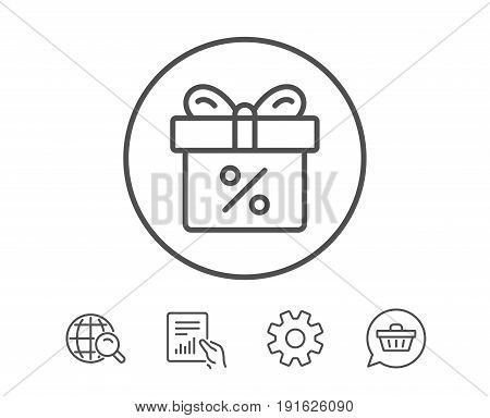 Gift box with Percentage line icon. Present or Sale sign. Birthday Shopping symbol. Package in Gift Wrap. Hold Report, Service and Global search line signs. Shopping cart icon. Editable stroke. Vector