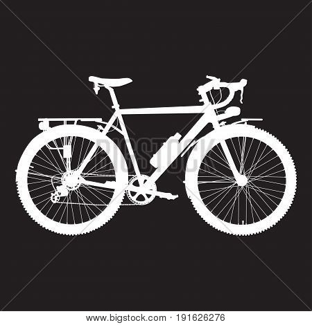 Vector illustration of touring bike. Road racing bicycle flat style design element. White bicycle template on black background.
