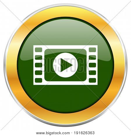 Play video green glossy round icon with golden chrome metallic border isolated on white background for web and mobile apps designers.