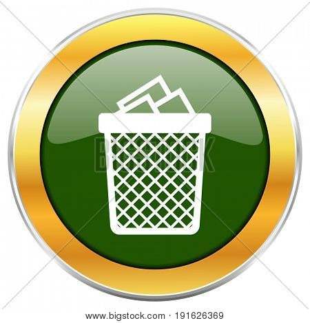 Trash can green glossy round icon with golden chrome metallic border isolated on white background for web and mobile apps designers.