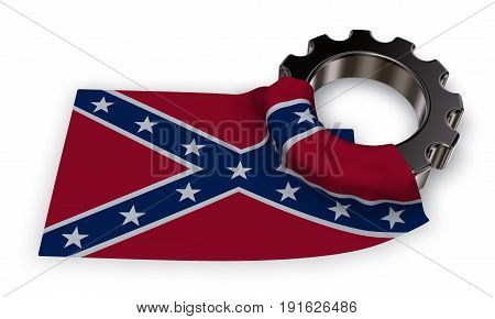 gear wheel and flag of the Confederate States of America - 3d rendering