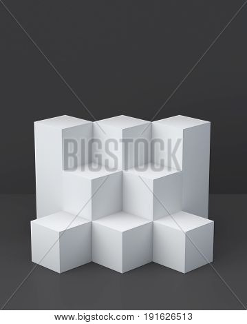 White cube boxes with dark blank wall background for display. 3D rendering.
