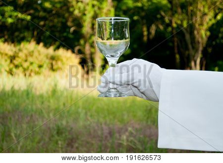Hand of the waiter in a white glove and with a white napkin holding a glass glass with water for wine on a blurred background of nature green bushes and trees
