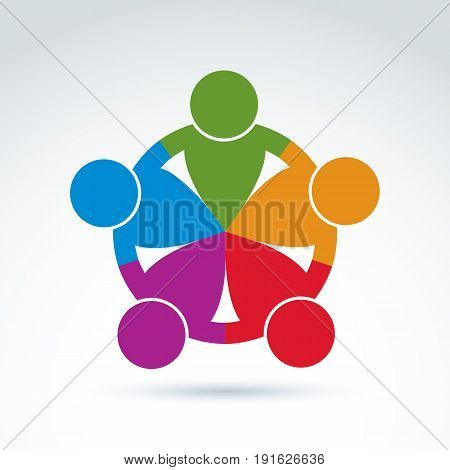 International business team social community. Vector colorful illustration of association together concept.