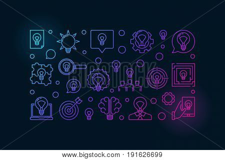Concepts and ideas colorful illustration. Vector bright banner made with idea and bulb icons on dark background