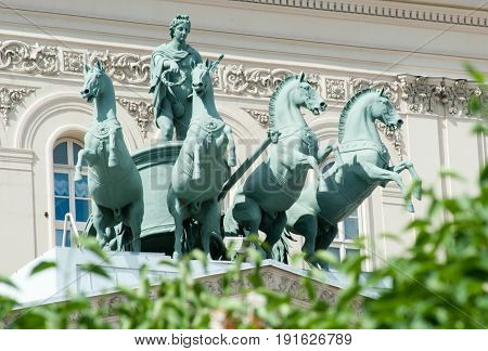 MOSCOW RUSSIA - June 17 2017 Quadriga on the building of the State Academic Bolshoi Theater in Moscow.