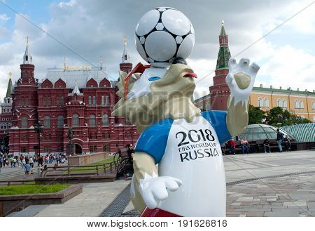 MOSCOW RUSSIA - June 17 2017 The official mascot of the 2018 FIFA World Cup and the FIFA Confederations Cup 2017 wolf Zabivaka at the Manege Square in Moscow.