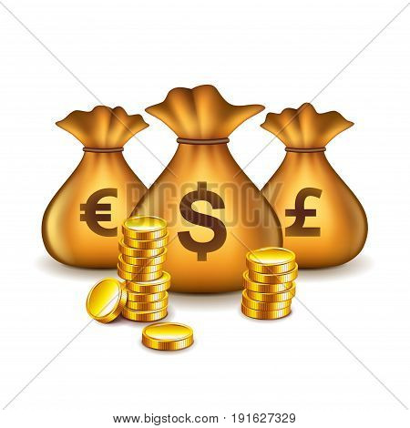 Money bags with currency signs isolated on white vector illustration