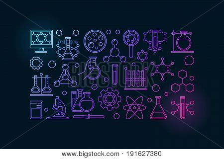 Colorful chemistry banner - vector illustration made with laboratory glass, test-tube and other chemical thin line icons on dark background