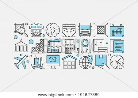 Delivery and logistics banner - vector global transportation or supply chain concept illustration made with outline icons on whtie background