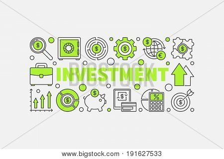 Investment and money illustration - vector concept horizontal banner made with green word INVESTMENT and outline business icons on white background