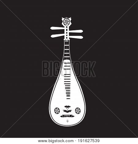 Vector illustration of liuqin white template on black background. Chinese plucked string musical instrument in flat design.