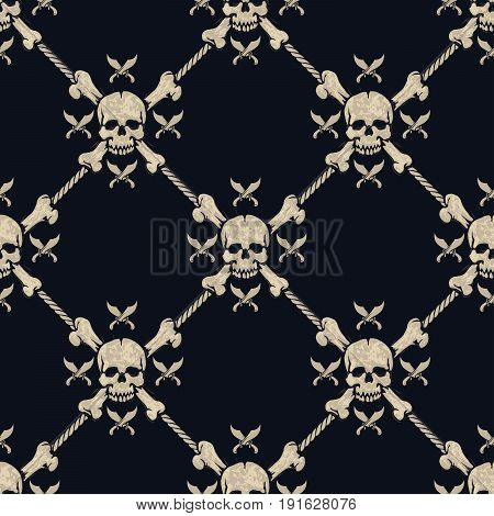 seamless pattern pirate skulls with cross swords