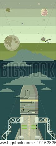 Rocket ship in a flat style. illustration. Space travel to the moon.Space rocket launch.Project start up and development process