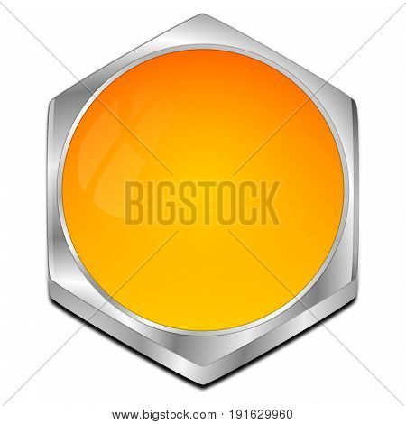 glossy orange blank Button - 3D illustration