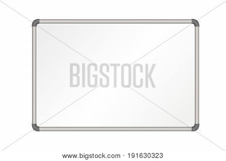 Vector realistic empty whiteboard illustration isolated on white background
