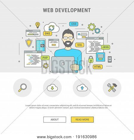 Development and programming concept banner. Digital devices and windows, programmer creating web sites, mobile applications. Line flat design symbols and icons for web site, print. Vector illustration