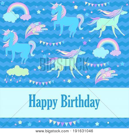 Hand-drawn elements unicorn, flags, cloud, fireworks and rainbow for patches, stickers, design cards and leaflets Cartoon elements characters