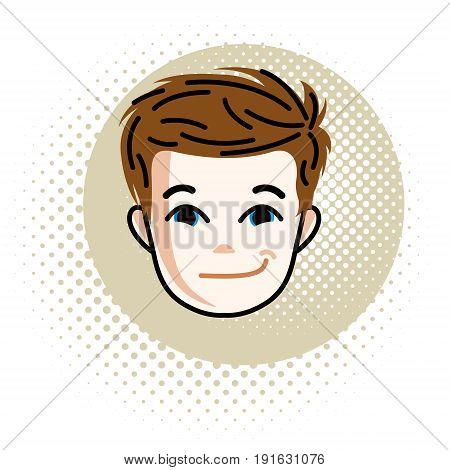 Boy face vector human head illustration portrait. Red-haired teenager expressing positive emotions.