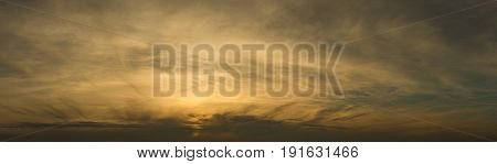 Panorama cloudy sky at sundown in springtime
