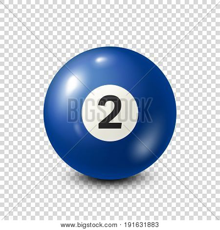 Billiard, blue pool ball with number 2.Snooker. Transparent background.Vector illustration.
